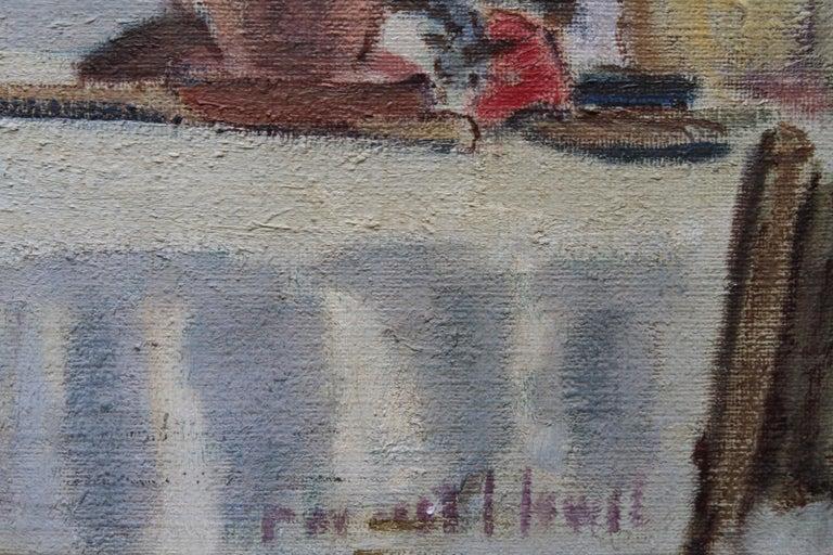Cafe Porto Fino Italy - British Post Impressionist oil painting Italian Riviera 7
