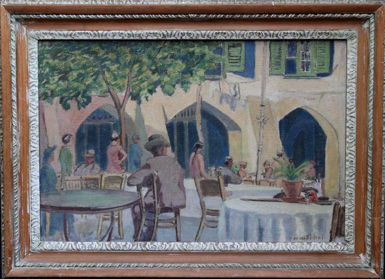 Cafe Porto Fino Italy - British Post Impressionist oil painting Italian Riviera 1