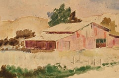 """""""The Old Ranch"""" Mid Century Oil & Graphite Landscape"""