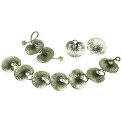 Forstner Sterling Silver Lily Pad Parure