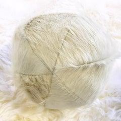 "Forsyth 12"" Brazilian Cowhide Ball Pillow - Ivory"
