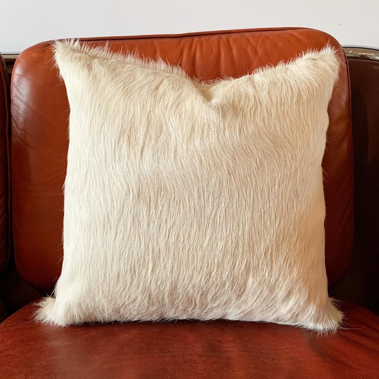 Contemporary Forsyth Ivory Brazilian Cowhide Pillow For Sale