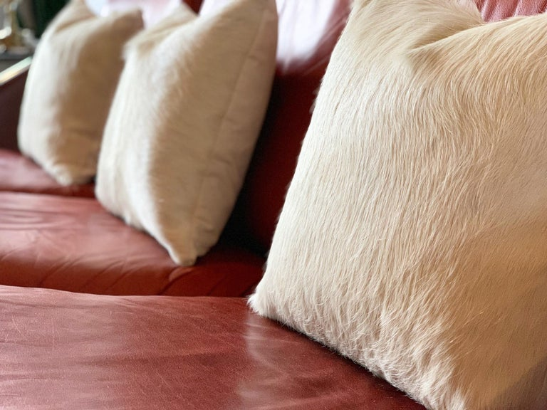 Forsyth Ivory Brazilian Cowhide Pillow For Sale 1