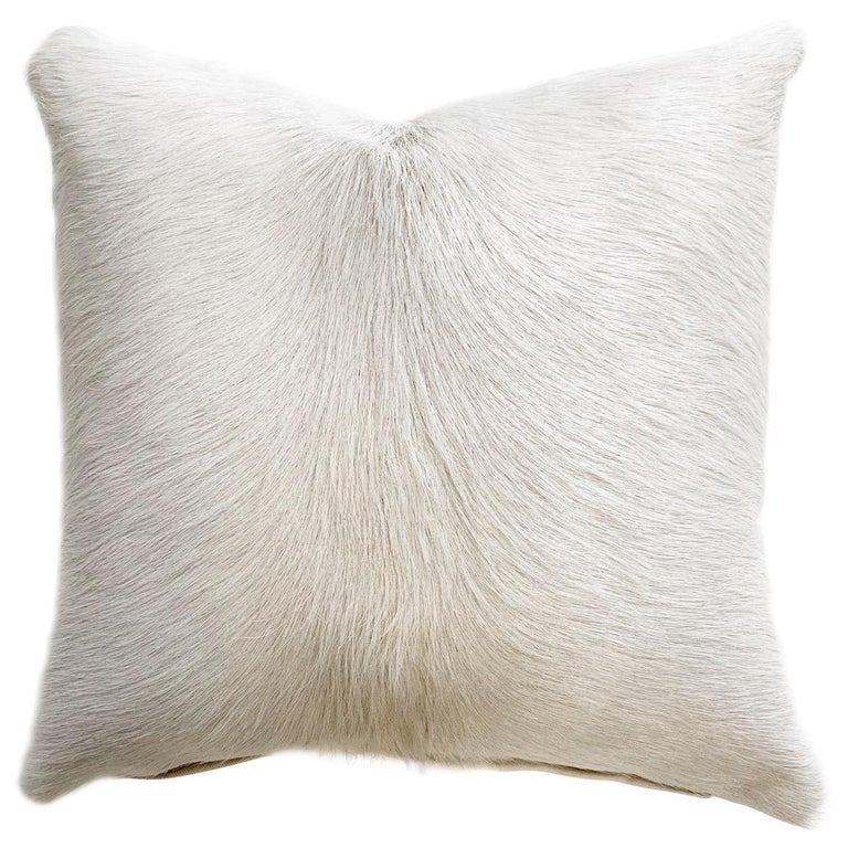 Forsyth Ivory Brazilian Cowhide Pillow For Sale