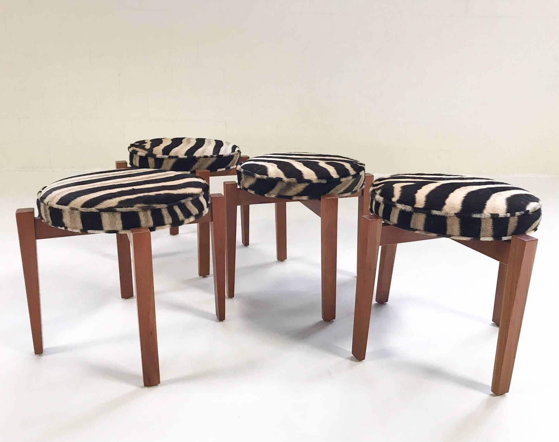 Jens Risom For Ralph Pucci Glasshouse Stools In Zebra Hide, Set Of Four For  Sale
