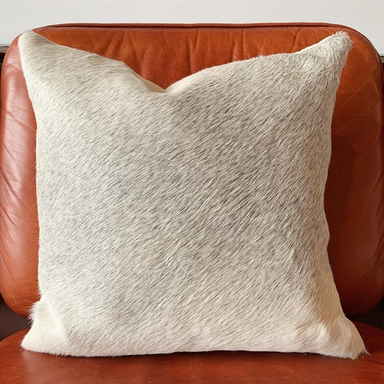 American Forsyth Salt and Pepper Grey Brazilian Cowhide Pillow For Sale