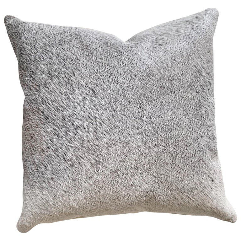 Forsyth Salt and Pepper Grey Brazilian Cowhide Pillow For Sale