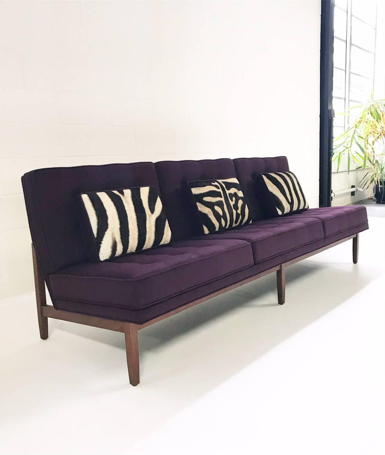 American Vintage Florence Knoll Sofa Red In Loro Piana Aubergine Cashmere For