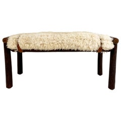Forsyth X Old Hickory Butte Bench with Custom California Sheepskin Cushion