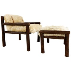 Forsyth X Old Hickory Butte Chair and Ottoman with Custom Sheepskin Cushions