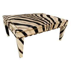 Forsyth Zebra Parsons Style Ottoman or Coffee Table, Made to Order