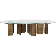 Fortis Dining Table, Clear Glass Finish, Three Bases and Squoval