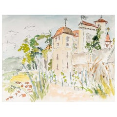 Fortress and Landscape, Watercolour on Paper by Luez