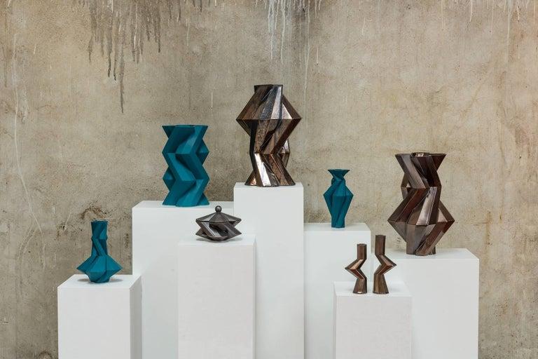 Modern Fortress Militia Candlesticks in Iron Ceramic by Lara Bohinc For Sale