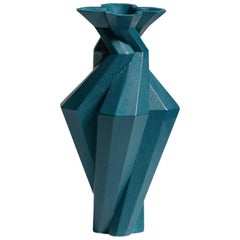 Fortress Spire Vase in Blue Ceramic by Lara Bohinc