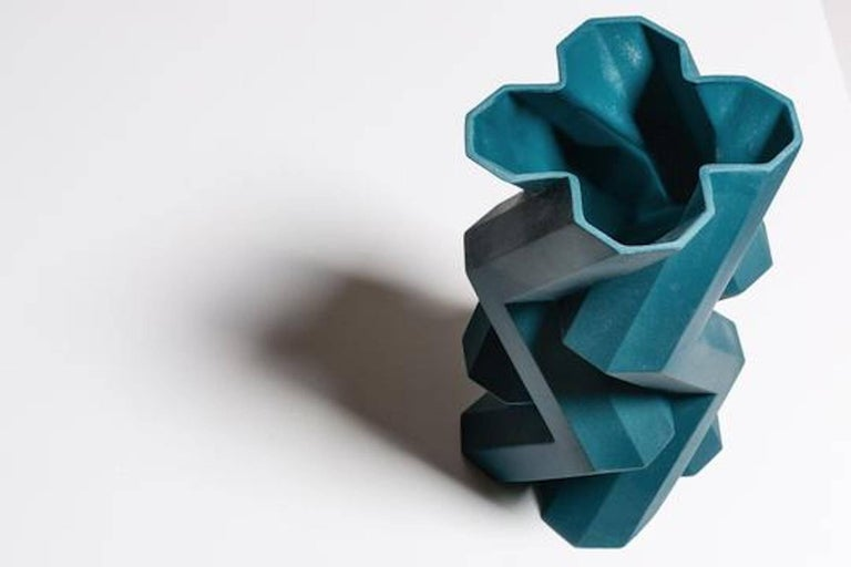 Modern Fortress Tower Vase in Blue by Lara Bohinc For Sale