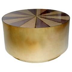 """Fortuna"" Metallic Marquetry Brushed Brass Circular Coffee Table"