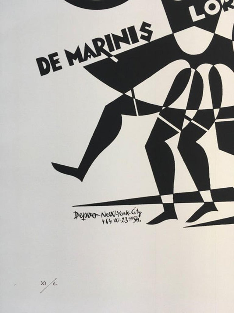 This is a numbered black and white print on Fabriano paper. This is a multiple of 250 printed by the authorization of Museum of depero in Rovereto, Italy This is the number XI (eleven) Fortunato Depero was a master of the Italian futurism. Tha black