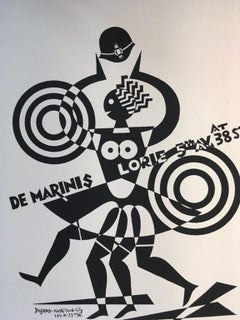 1974 Italy Fortunato Depero De Marinis Black and White Numbered Print on Paper