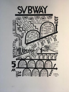 1974 Italy  Fortunato Depero Subway Black and White Numbered Print on Paper