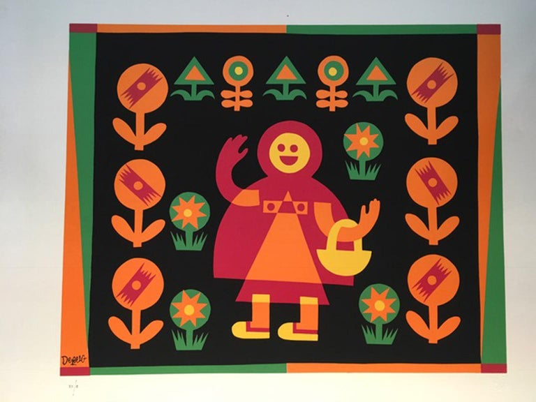 Little Red Riding Hood by Fortunato Depero Abstract Print Italy 1974 For Sale 3