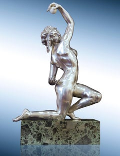 "Art Nouveau Female Nude Bronze Sculpture, ""Oriental Ball Dancer"" in Silver"