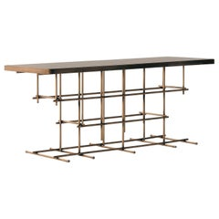 Fortune II, Contemporary Console Table Lacquered in Gold