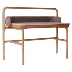 Fortune ii, Contemporary Oak Vanity Upholstered in Premium Calf