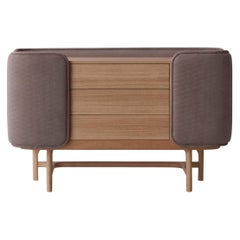 Fortune III, Contemporary Oak Chest Upholstered in Velvet