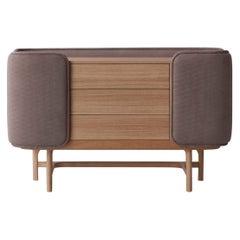 Fortune III, Contemporary Oak Chest Upholstered in Velvet