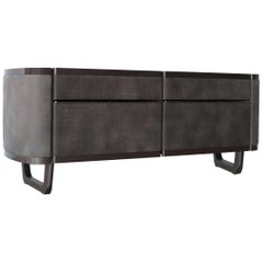 Fortune Sideboard Upholstered in Leather and Lacquered in Glossy Anthracite