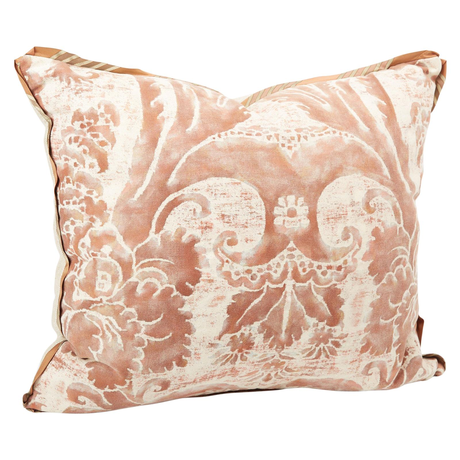 Fortuny Fabric Cushion in the Glicine Pattern, Newly Made with Vintage Fabric