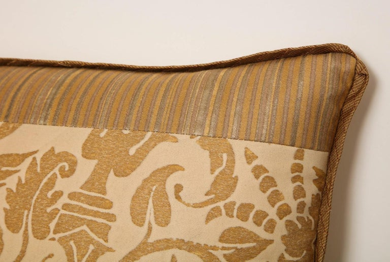 Contemporary Fortuny Fabric Cushion in the Ucceli Pattern For Sale