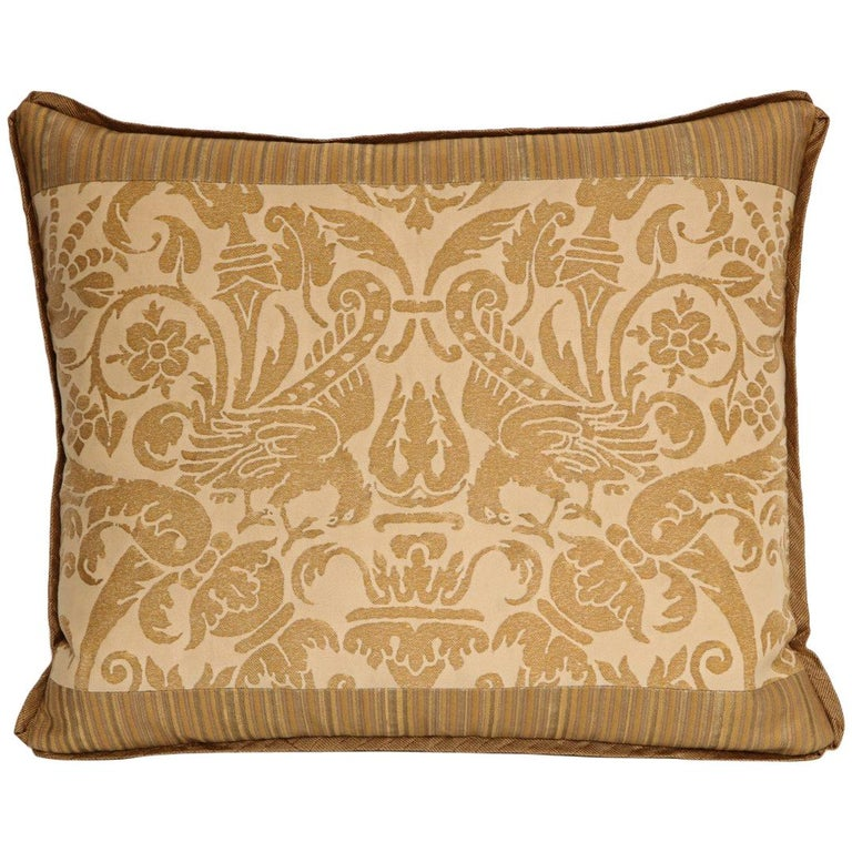 Fortuny Fabric Cushion in the Ucceli Pattern For Sale