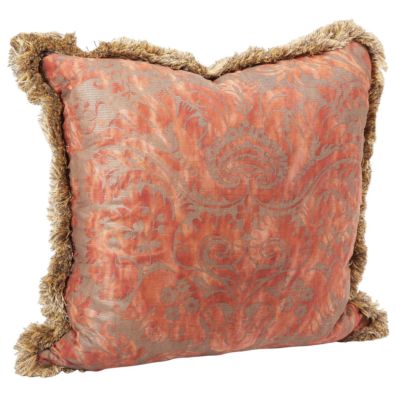 Fortuny Fabric Cushion with Brush Fringe, Vintage Fabric, Newly Made