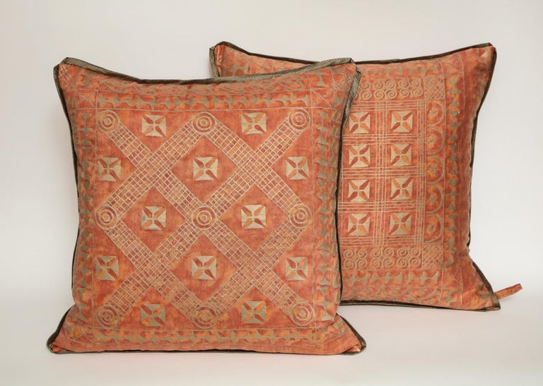 Tribal Fortuny Fabric Cushions in the Ashanti Pattern For Sale