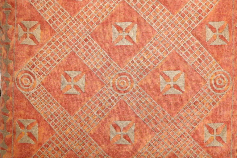 American Fortuny Fabric Cushions in the Ashanti Pattern For Sale