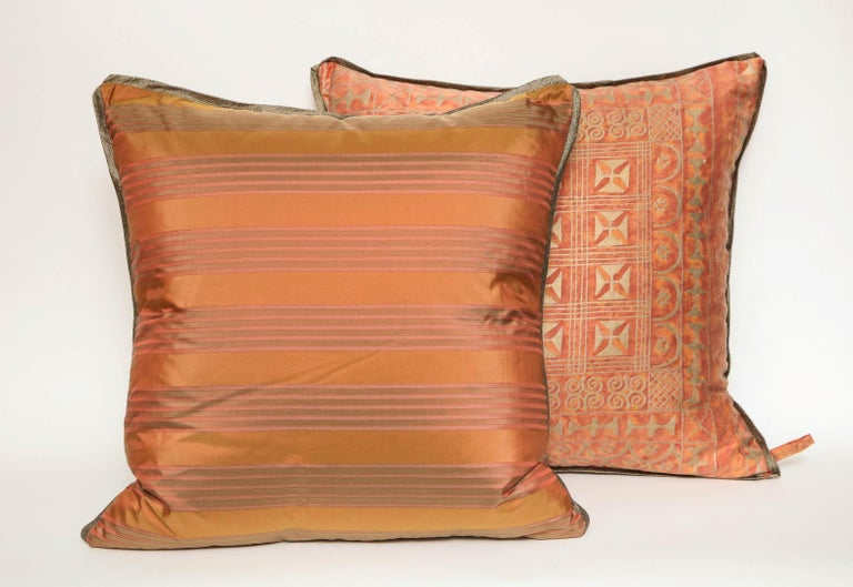 Cotton Fortuny Fabric Cushions in the Ashanti Pattern For Sale