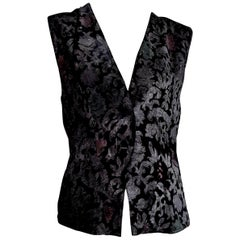 """FORTUNY Fabric """"New"""" Hand Painted for Collection Silk Velvet Gilet Vest - Unworn"""