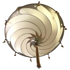 Fortuny Flush Mount Silk Scudo Chandelier