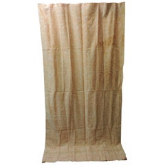 """Fortuny """"Uccelli"""" Curtain Panel Peach on White"""
