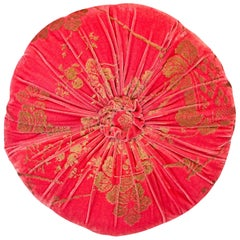 Fortuny / Venetia Stadium Round Red and Gold Velvet Pillow