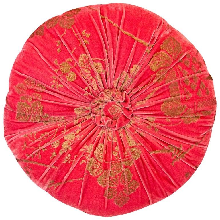 Fortuny / Venetia Stadium Round Red and Gold Velvet Pillow For Sale
