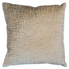 Fortuny / Venetia Stvdivm Pale Blue and Gold Crocodile Velvet Pillow
