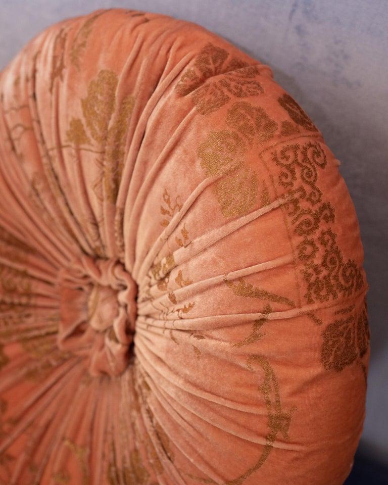 Italian Fortuny / Venetia Stvdivm Round Pink and Gold Velvet Pillow For Sale