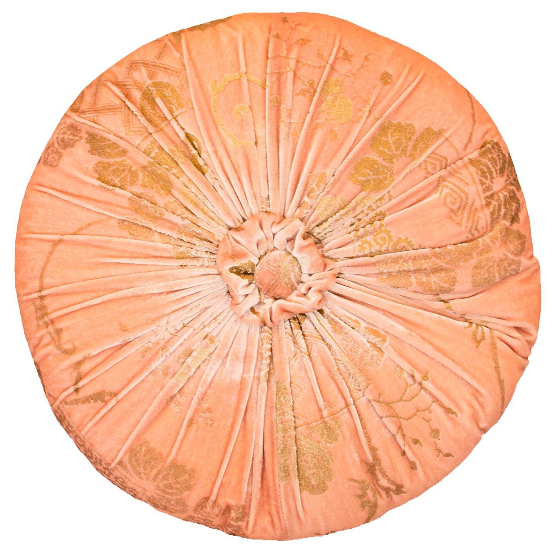 Fortuny / Venetia Stvdivm Round Pink and Gold Velvet Pillow