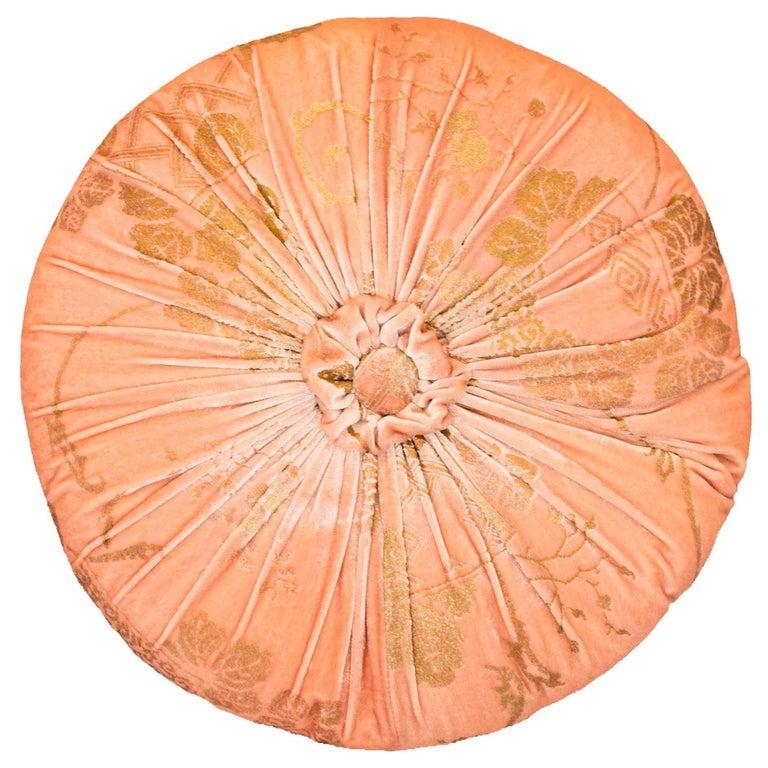 Fortuny / Venetia Stvdivm Round Pink and Gold Velvet Pillow For Sale