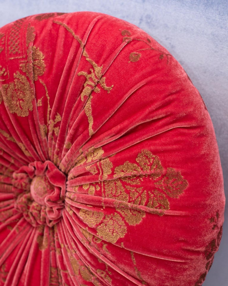 Italian Fortuny / Venetia Stadium Round Red and Gold Velvet Pillow For Sale