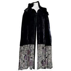 FORTUNY Venice Antique Hand-painted Silk-Screened Velvet Deco' Cape.