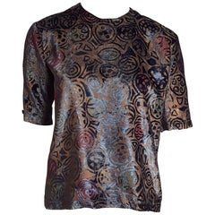 "FORTUNY Venice Fabric ""New"" Couture Silk-Screened Hand Painted Velvet Shirt"